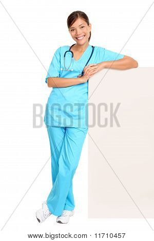 Medical Doctor Showing Blank Sign