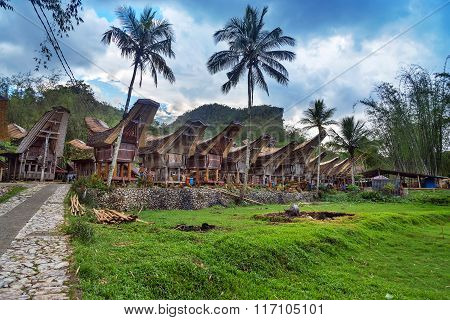 Tana Toraja, Indonesia - Dec 08, 2015:Tongkonan traditional village Kete Kesu. Tana Toraja Sulawesi. Indonesia