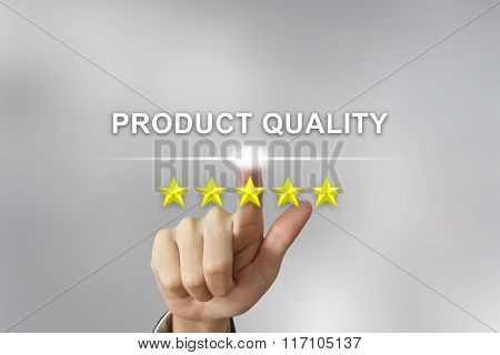 Business Hand Pushing Product Quality On Screen