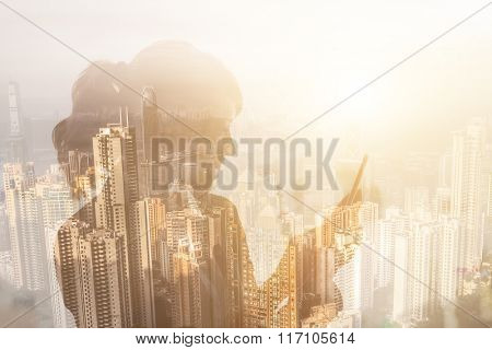 Portrait of Asian business woman using tablet in a room, concept of technology or communication.
