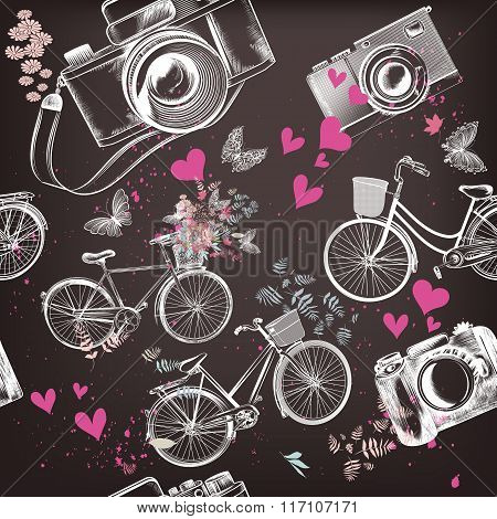 Vector Seamless Pattern With Hand Drawn Bicycles And Hearts