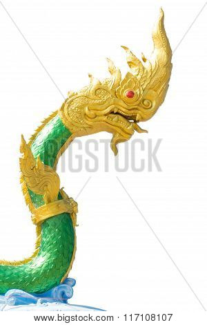 Serpent King Or King Of Naga Statue Isolated On White.