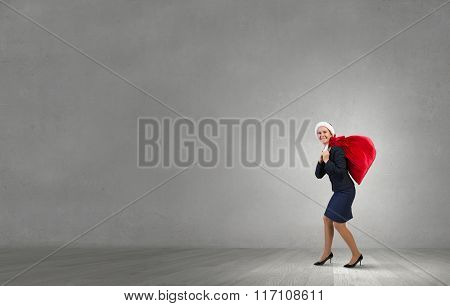 Santa woman with sack