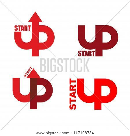 Start Up Set Logo. Emblem To Start Business Projects. Up Arrow. Beginning Of Process Of Business. Si