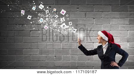 Santa woman having mobile dialogue