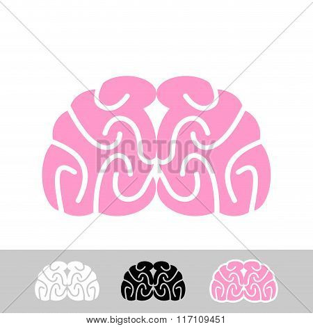 Brain. Flat Brain Icon. Human Brain. Main Organ Of  Central Nervous System Of Humans.