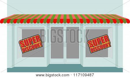 Super Sale At Store. Shop Building With Empty Stalls. Storefront All Sold. Empty Shelves.