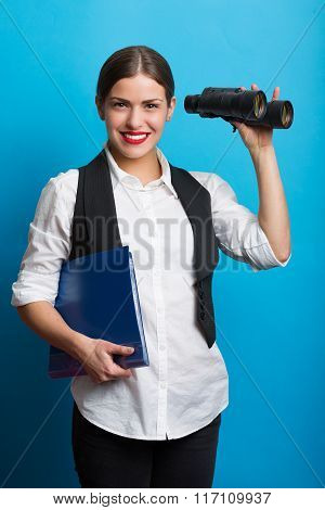 Business Woman With A Binoculars