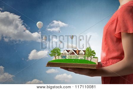 Girl with opened red book
