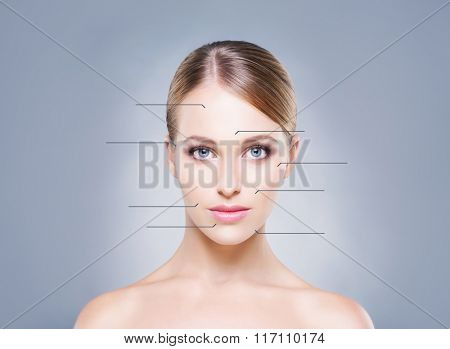 Beautiful, young woman with arrows pointing on different parts of face. Medical concept.
