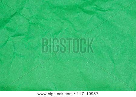 Crumpled Paper Texture - Green Paper Sheet.