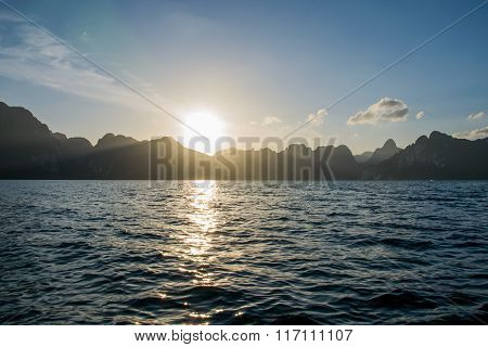 Sun Rise Behind Mountain At Khao Sok National Park, Surat Thani ,thailand.