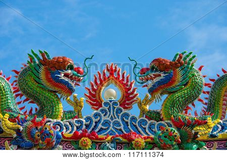 Dragon Sculpture At Chinese Temple In Thailand