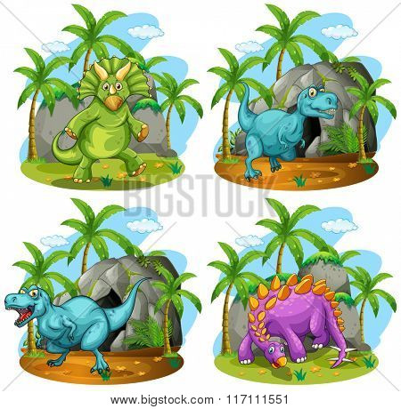 Four dinosaurs standing in the field illustration