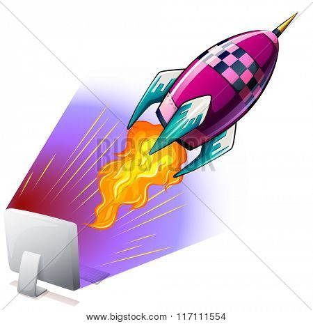 Rocket flying out of computer screen illustration