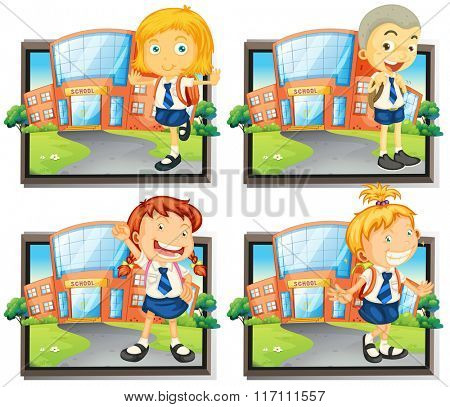 Four students in uniform at school illustration