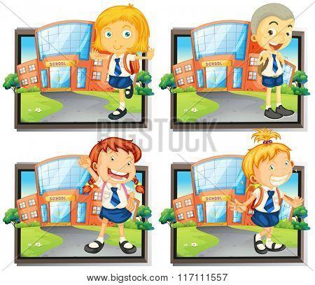 Four students in uniform at school illustration