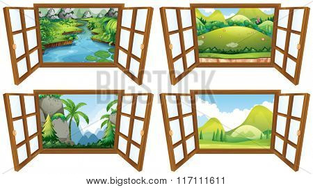 Four nature scenes from the window illustration