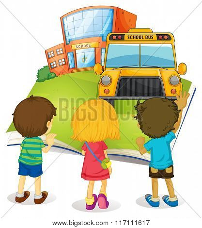 Giant book with children and school illustration