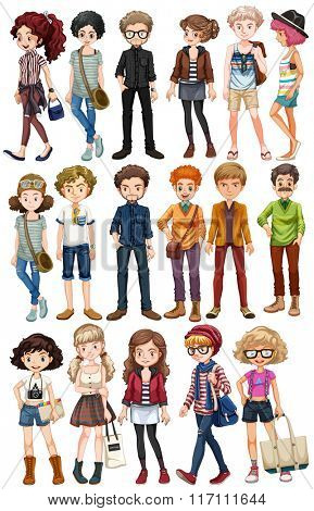 Hipster people in fashionable clothes illustration