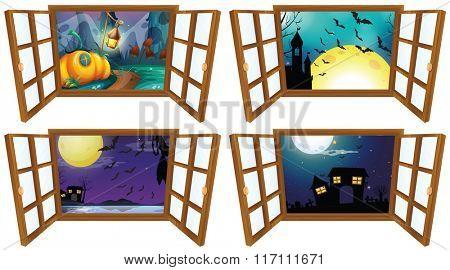 Halloween night from the window  illustration