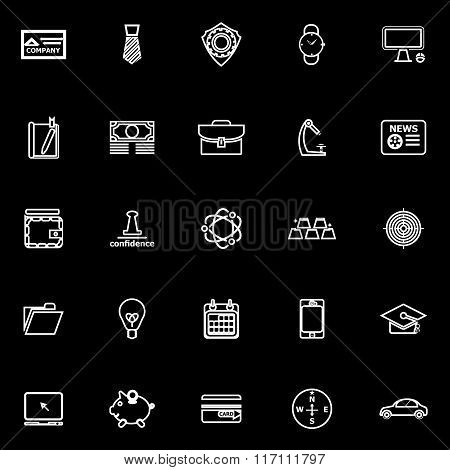 Businessman Item Line Icons On Black Background
