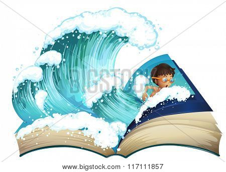 Giant book with boy swimming in the ocean illustration