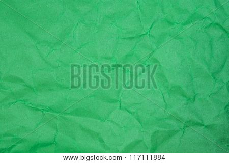Crumpled Paper Texture - Green Paper Sheet.