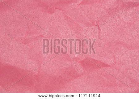 Crumpled Paper Texture - Pink Paper Sheet.