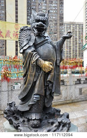 Hong Kong, China - June 25, 2014: Chinese Zodiac Bronze Dragon Stature At Sik Sik Yuen Wong Tai Sin