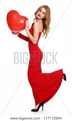 woman in red with heart shape balloon