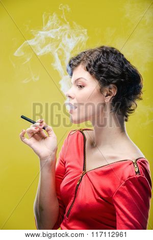 Smoking girl with steam