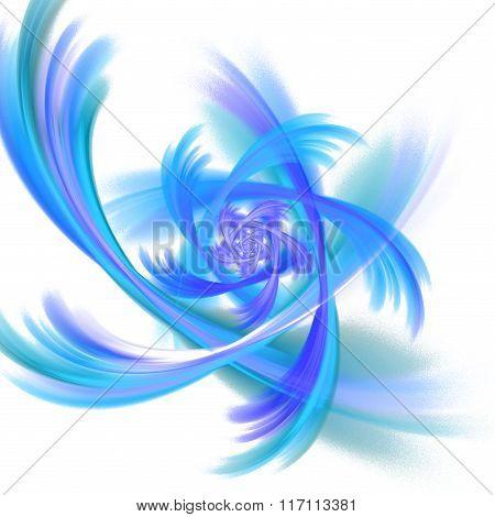 Abstract Fractal Design. Blue Spiral In Blur.