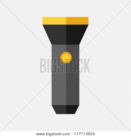 Flashlight Isolated, Flat Style