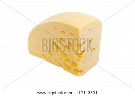 Piece Of Swiss-type Cheese On A Light Background