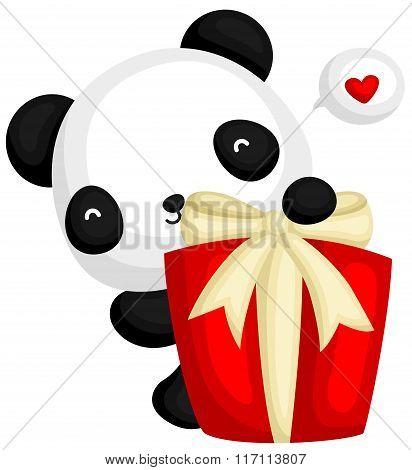 Cute Panda Behind Gift Box