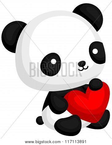 Cute Panda Holding Heart Pillow