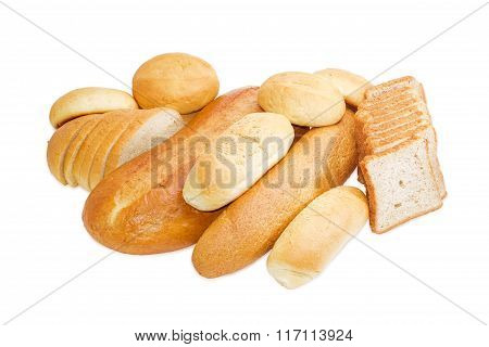 Various Bakery Products On A Light Background