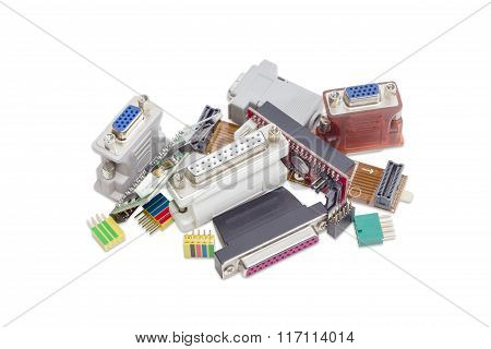 Adapters For Computers Technology On A Light Background