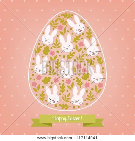 Greeting pink card white Easter bunny in the egg.