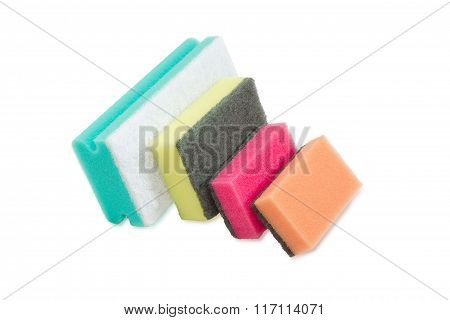 Various Cleaning Sponges On A Light Background