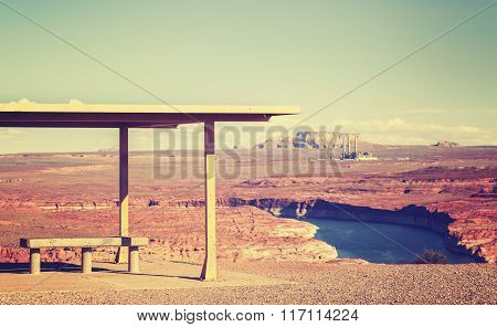Vintage Toned Picnic Area With Lake Powell View, Usa.