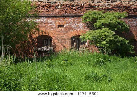 A fragment of an abandoned ancient city walls. Kronstadt