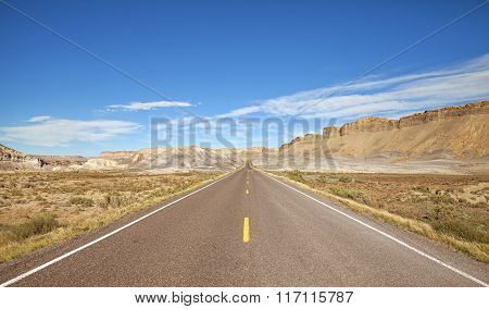 Vintage Toned Endless Scenic Road, Utah, Usa