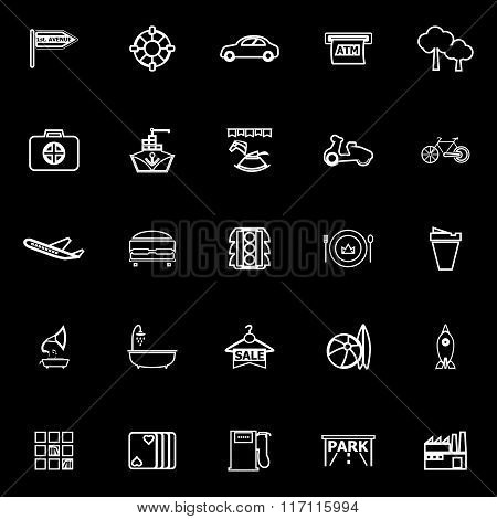 Map Place Line Icons On Black Background