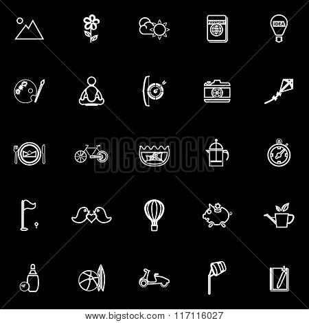 Slow Life Activity Line Icons On Black Background