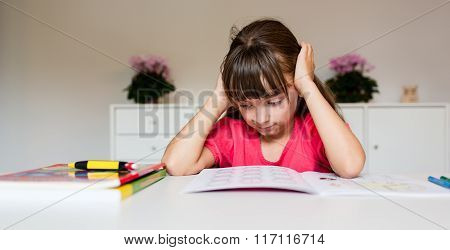 Frustrated Girl With Homework