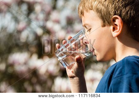 Boy Holding Glass Of Fresh Water