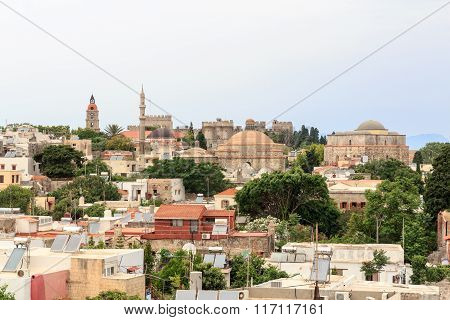 Panorama of the historic city of Rhodes city Greece