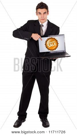 Business Man Pointing At A Colorful Sale Label 2